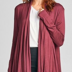 Sweaters - Lightweight Draping Open-Jersey Cardigan, Red Bean